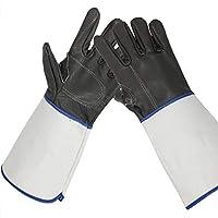 ロング溶接手袋トップレイヤー牛革肥厚プラスキャンバススリーブ丈夫な絶縁溶接手袋38センチ黒