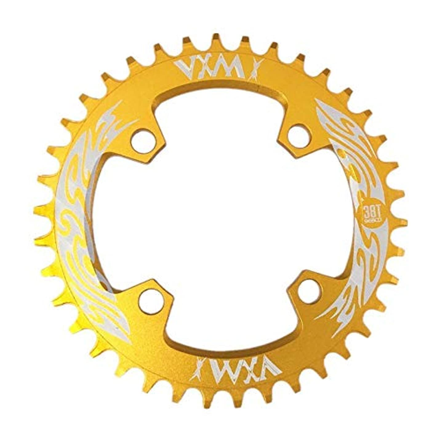 非常に怒っています主張する半円Propenary - Bicycle Crank & Chainwheel 96BCD 38T Ultralight Alloy Bike Bicycle Narrow Wide Chainring Round Chainwheel Cycle Crankset [ Gold ]