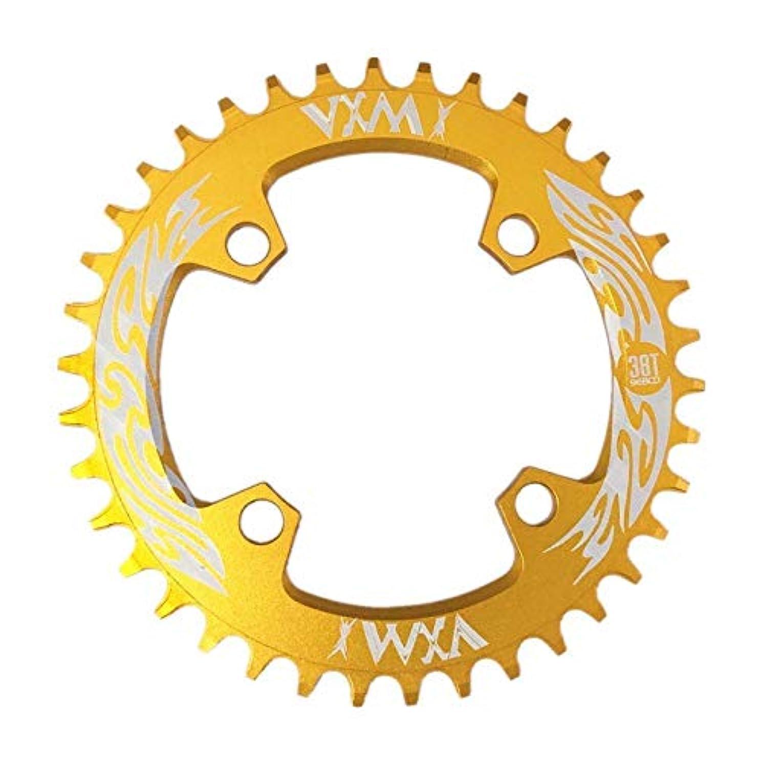 白鳥パーフェルビッド削るPropenary - Bicycle Crank & Chainwheel 96BCD 38T Ultralight Alloy Bike Bicycle Narrow Wide Chainring Round Chainwheel Cycle Crankset [ Gold ]
