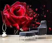 Bzbhart カスタム3D壁紙ロマンチックな赤いバラのリビングルームの寝室の背景の壁の装飾壁画の壁紙-250cmx175cm