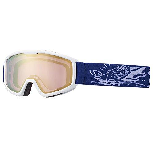 SWANS(スワンズ) 子供用 スキー スノーボード ゴーグル 5歳?12歳 ミラーレンズ 140-MDH W ホワイト/ゴールドミラー×ブライトピンクレンズ