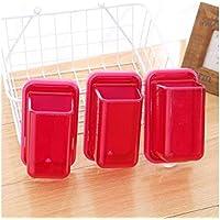 FenBuGu-JP 興味深い 多機能キッチン箸強力なサクションカップホルダープラスチック収納箱小さな収納バスケット(赤)