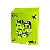屋外用メールボックス、壁掛け式ロック式メールボックス、装飾用屋外メールボックス、亜鉛メッキシート材、ナチュラル牧歌的なスタイル (色 : 緑)