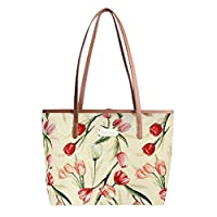 Signare Tapestry Stylish Tote Shoulder Handbag Tulip White Floral (COLL-TULWT)