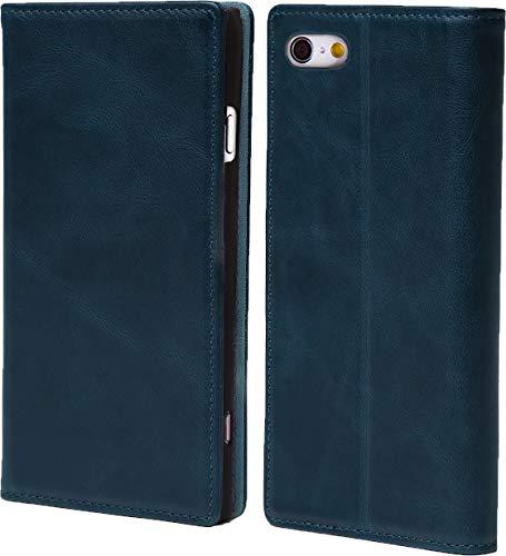 steady advance 最高級 本革 (牛革) iPhone6 iPhone6s アイフォン6 用 スマホ ケース 手帳型  硬度 9H 強化 ガラスフィルム  セット マグネット式 ソフトレザー (iPhone 6s, ミラニーズブルー)