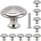 Elfishau 20PCS Cabinet Door Knobs,Brushed Nickel Round Stainless Mushroom Shape Pull Handle with Fitting Screw Hardware Knob