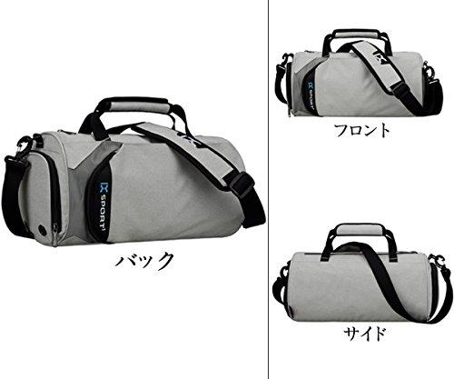 キャリーオンバッグ 折り畳みボストンバッグ 軽量スポーツバッグ 大容量 防水ナイロントート旅行バッグ (グレー)