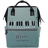 ママバッグ マザーズバッグ リュックサック ハンドバッグ 旅行用 ピアノ柄 音楽 プリント ファション