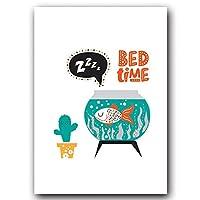 PLMQA 装飾画 抽象的なかわいい漫画魚クラゲキャンバス絵画アートプリントポスター画像壁寝室シンプルな家の装飾