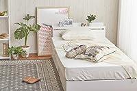 【セミダブル】白い収納ベッド 【オリジナルポケットコイル】 棚付き