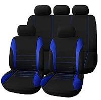 カーシートカバー - Delaman 運転席、2前部座席+ 1後部座席+ 1後部座席+ 5ヘッドレスト、9点セット、青/灰/赤+ブラック (Color : Blue)