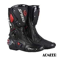 [AcMeer] レーシングブーツ バイク用ブーツ メンズ オートバイ靴 ライディングシューズ プロテクトスポーツブーツ バイク用靴 大きいサイズ ブラック レッド ホワイト