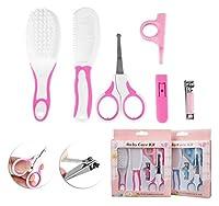爪切りセット ベビー用品 6点セット 爪切りハサミ・ピンセット・鼻吸い器など 携帯便利 ベビー用品セット 収納ケース付き 0-5歳児 全2色 (ピンク, タイプa)