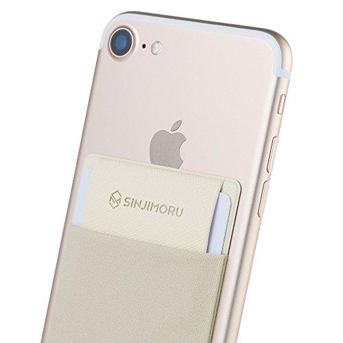手帳型ケース Sinjimoruスイカ 定期券 ICカード入れ iphone android など スマホ背面ポケット シンジポ-チflap ベージュ