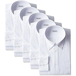 (アトリエサンロクゴ) atelier365 ワイシャツ 形態安定 長袖白Yシャツ全20サイズ 5枚セット/ 6041-set-bd-zaiko-L-41-80