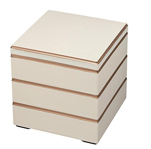 若泉漆器 3段重箱 6.5寸 校倉重 アイボリー渕金(内黒) H-155-34-A