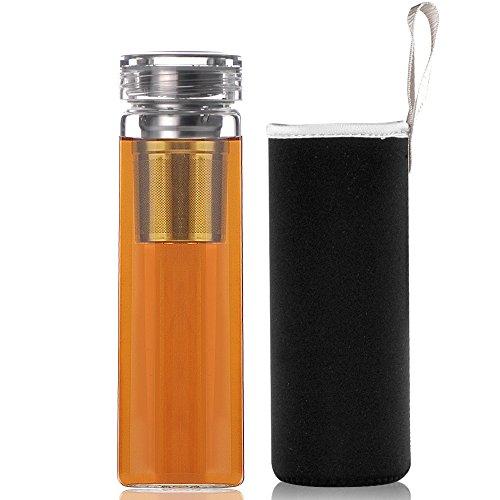 Reeho® 510ml 携帯用 透明 耐熱ホウケイ酸ガラス製水筒 お茶のボトル, ステンレス 茶こし カバー付き (510ml, ブラック 3)