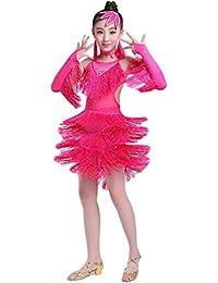 子供たち ダンス 練習用 ドレス 舞台衣装 ラテンダンスドレス スパンコール フリンジ Dance Dress - ガールズ 社交ダンス衣装 開場ドレス演出服, Size 110cm-160cm [Zhhlinyuan]