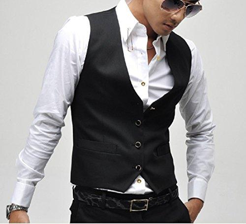 (ヴェロ クオーレ) VERO CUORE スーツ ベスト Vネック ビシネス フォーマル チョッキ キレイめ ジレ メンズ (ブラック M)