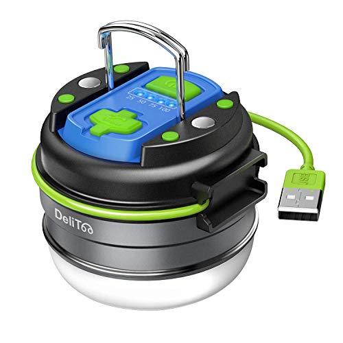 DeliToo LEDランタン 懐中電灯 USB充電式 マグネット搭載 200LM高輝度 3000mAh大容量 IP65防水 アウトドア