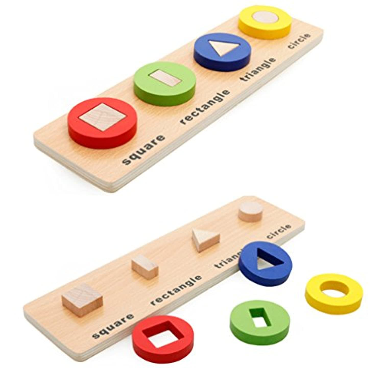 PhantomSky 木の玩具 型はめ 知育玩具 形合わせ パズル 棒さし 幾何認識 幼児 プレゼント#2