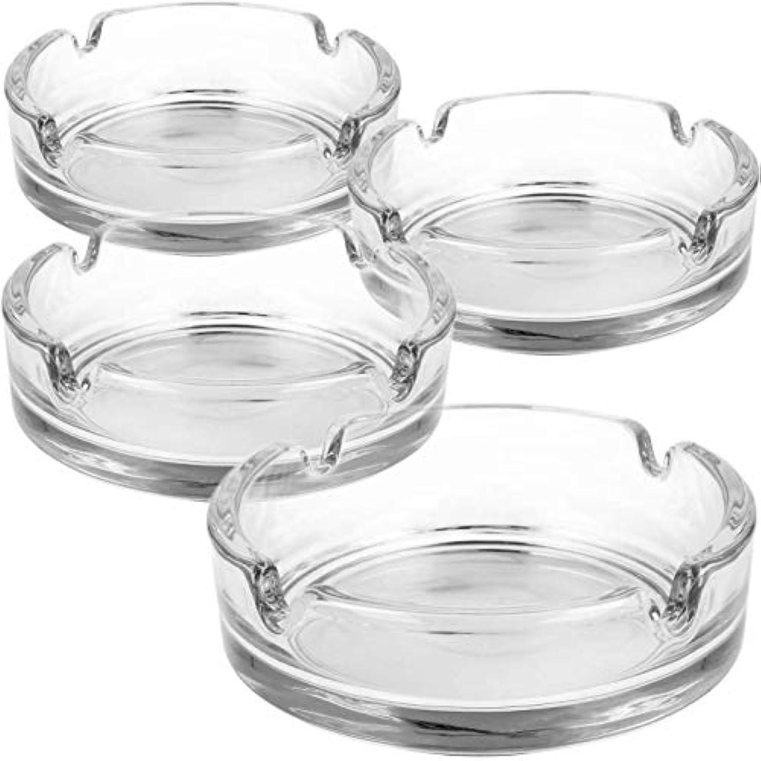 レトルト少ない賭けガラス製の4倍の灰皿 - タバコ用クリアガラスの灰皿 - プライベートと美食のための灰皿