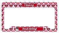 キャロラインは。フレンチブルドッグバレンタイン愛と心のナンバープレートフレームに×6 LH9157LPF 12トレジャー