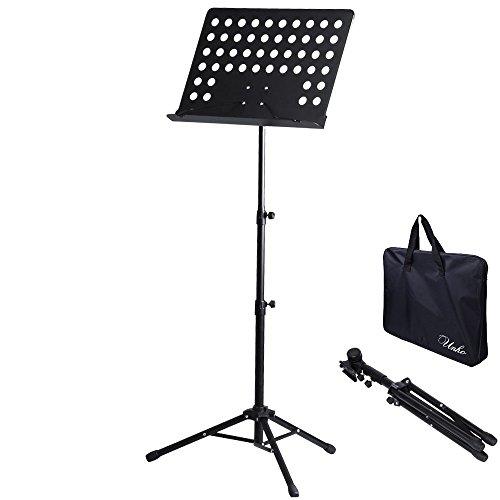 譜面台 折りたたみ式 軽量 角度/高さ調整可能 楽譜スタンド スチール製 収納ケース付 バイオリン/...