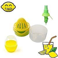 6のセットフレッシュレモンジューサーtools-lime Orange Juice SqueezerセーバーアイスキューブDrops and Measuring Cup Perfect forキッチンアウトドア One Size