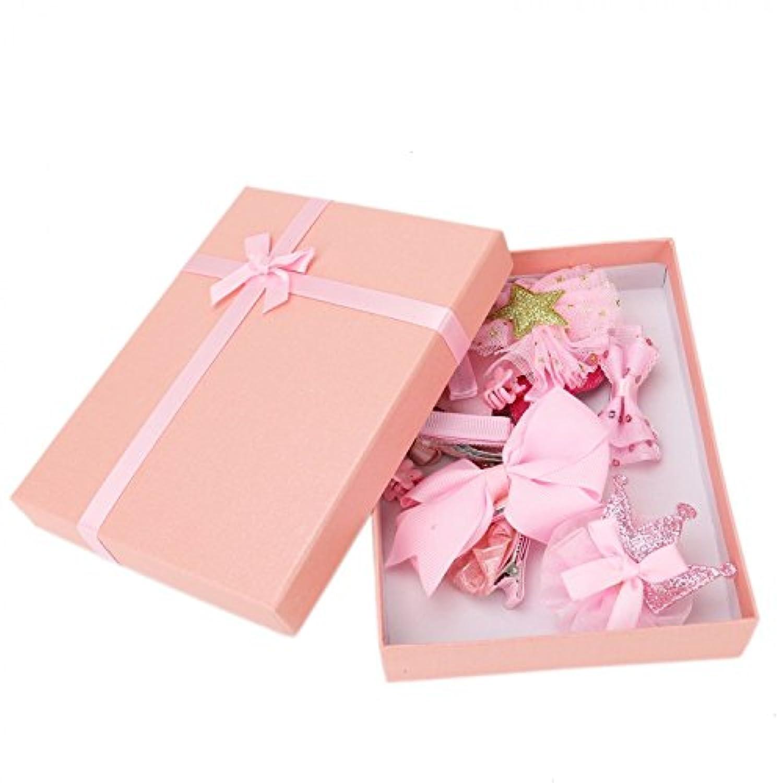 Buorsa 10個セット 女の子用 ヘアクリップ リボン バレッタ ヘアピン ギフトボックス ピンク