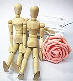 木製 デッサン 人形 モデル 曲がる インテリア 取り外し可能土台付き 2体セット 夫婦 カップル 子ども 高さ14cm 2個セット 猿express (14cm)