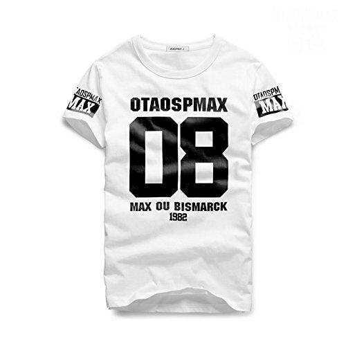 STARDUST ナンバー ロゴ Tシャツ トップス インナー 半袖 Uネック 春夏 メンズ アメカジ カジュアル スポーティ (XLサイズ 08ホワイト) SD-154548-08-WH-XL