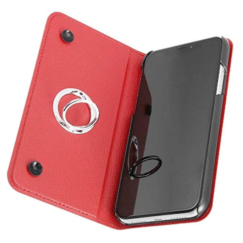調和のとれた極小敬意を表してiPhone XR 手帳型ケース リング付360 ピタッとカバー レッド