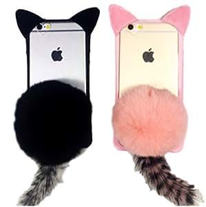 (Meilleur reve) 猫耳 ファー 付き スマホ ケース カバー カバー クリア iphone 6 / 6s / 6 plus / 6s plus / 7 / 7 plus ポンポン もこもこ しっぽ (01: iphone7(ピンク))