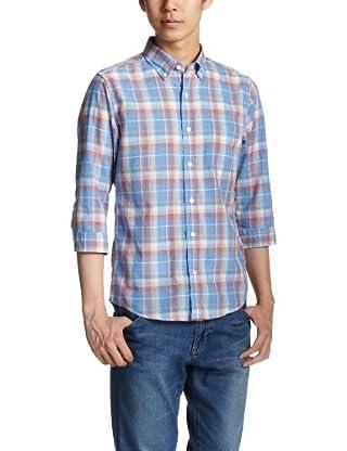 Polyester Cotton Faded Check 7/10 Sleeve Buttondown Shirt 3216-166-0738: Light Blue