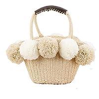 Straw Hand Woven Beach Bag for Women with Pom Poms and Inner Pouch, Boho Rattan Drawstring Retro Summer Beach Handbag