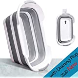Collapsible Laundry Basket with Draining Plug - Foldable Plastic Laundry Hamper - Pop Up Storage Container- Space Saving Clothes Basket-