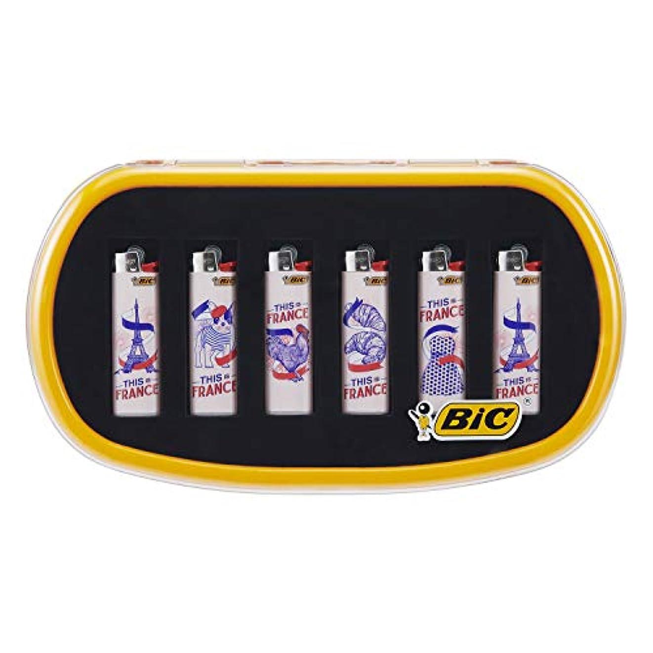 気楽な理想的狂人ビック(Bic) ライター J23 スリム フレンチデザイン 6本セット オリジナルケース J23D-TIF6BOX