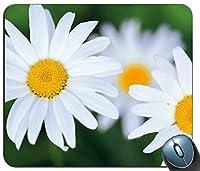 白い花マウスパッド、ゲーミング長方形マウスパッド