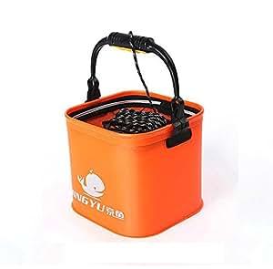 水汲み バケツ 蓋 ロープ 付き ソフト EVA 折りたたみ 釣り 釣具 フィッシング 水 汲み バケツ 活かし 用 ファスナー 蓋 巻付 握り ロープ 6 M 大きめ 24CM (橙)