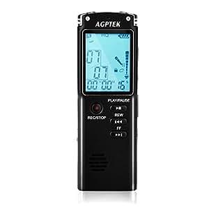 AGPTEK ICレコーダー ボイスレコーダー 8GB 高音質内蔵スピーカー 多機能充電式ICレコーダー 会議 商業活動ビジネにレコーディング最適 インタビュー ライブ レッスン&コンサート日本語取扱説明書付き
