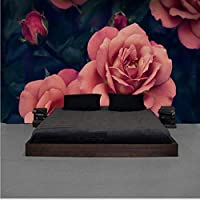 Xbwy カスタム壁画美しい手描きのバラのテレビの背景の壁紙ピンクのバラ大きな花の壁紙ホテルの壁紙-280X200Cm