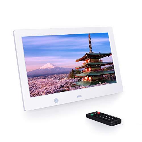 10.1インチ デジタルフォトフレーム 1280*800解像度 高解像度LEDバックライト液晶 記憶機能 多機能 自動再生 リモコン付き 人感センサー付き 良いギフト (白)