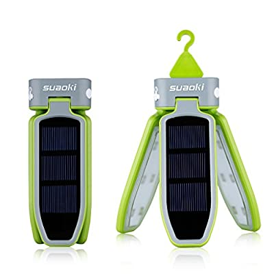 SUAOKI Collapsible 18 Led Camping Lantern Rechargeable Lantern Powered by USB Charging and Solar Panel for Hiking Jogging Fishing