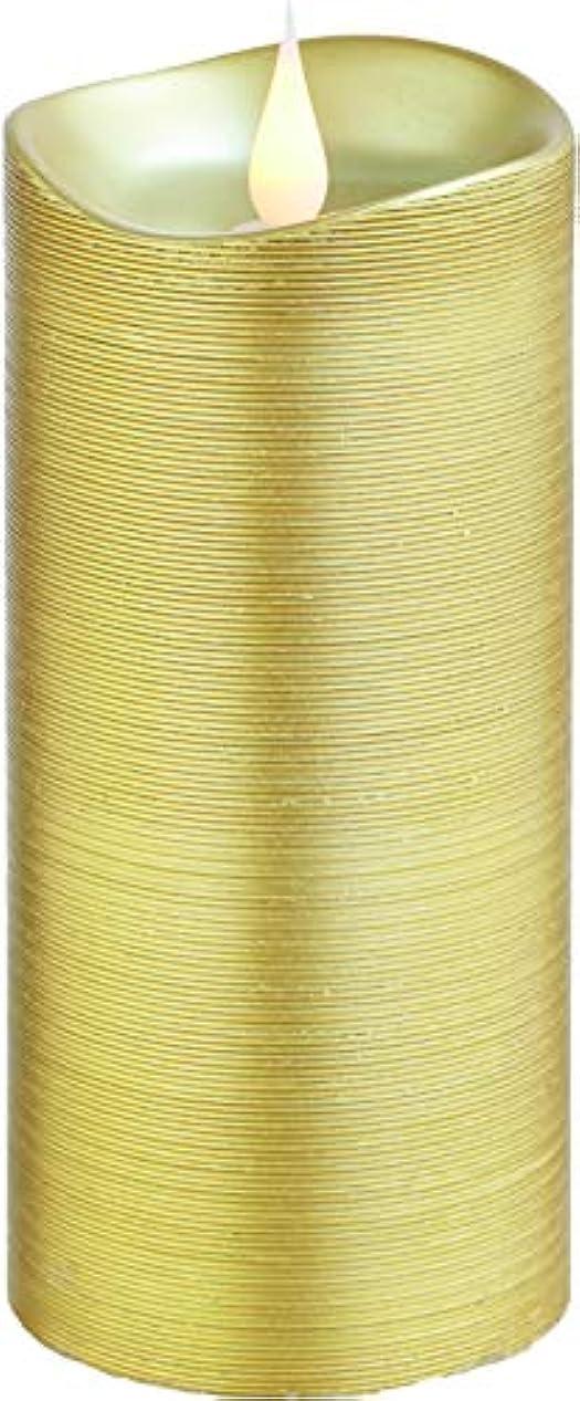 バーチャルドライ項目エンキンドル 3D LEDキャンドル ラインピラー 直径7.6cm×高さ18.5cm ゴールド