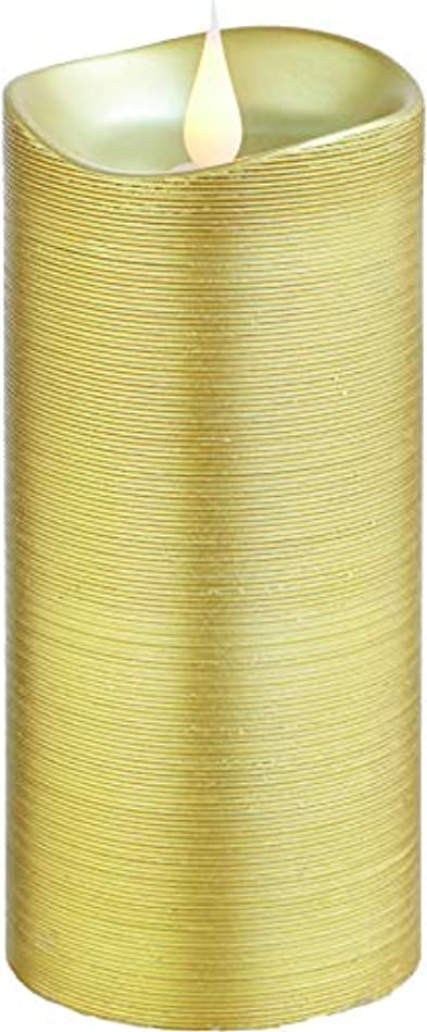 地域の喪自然公園エンキンドル 3D LEDキャンドル ラインピラー 直径7.6cm×高さ18.5cm ゴールド