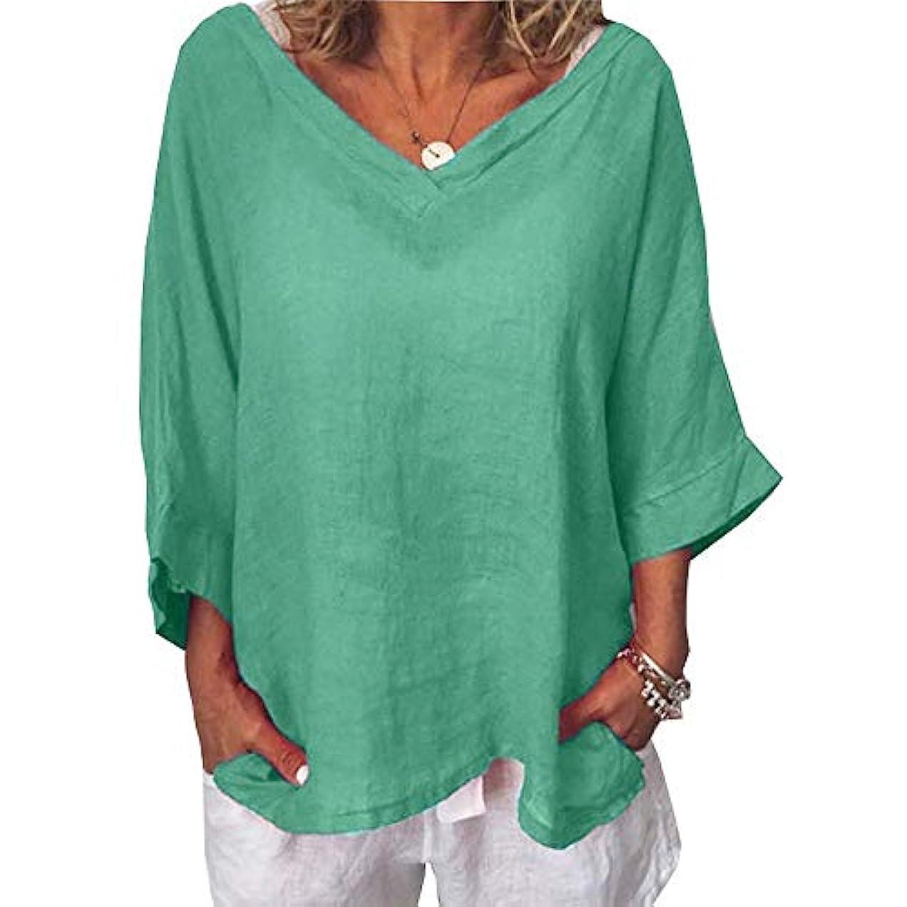 しかし運搬予測子MIFAN女性ファッションカジュアルVネックトップス無地長袖Tシャツルーズボヘミアンビーチウェア