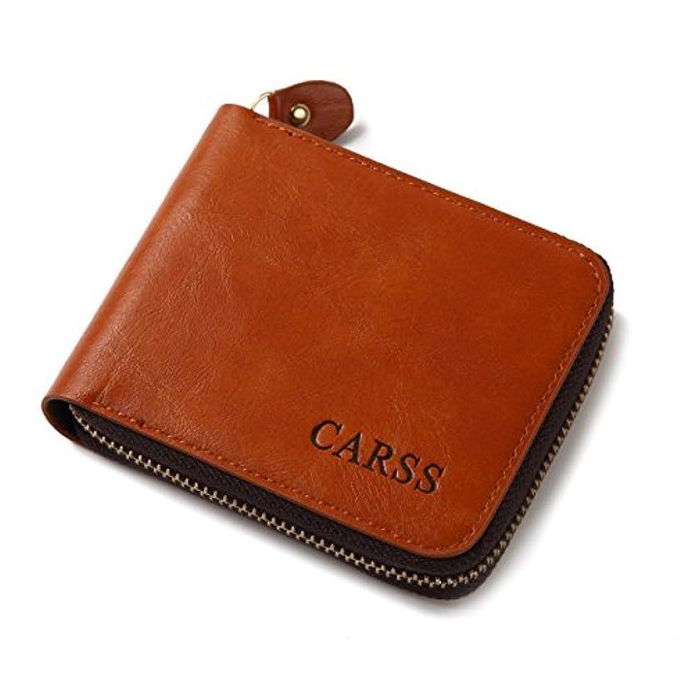 急速な噴水偽装する【革財布】ラウンドファスナー 二つ折り財布 メンズ 小銭入れあり