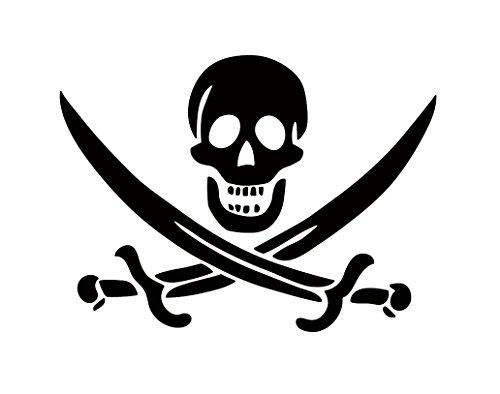海賊 骸骨 どくろ スカル skull 海賊旗 ジョリー・ロジャー Jolly Roger スケルトン 剣 刀 シルエットステッカー シール デカール (ブラック)