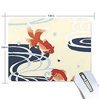 マウスパッド 浮世絵 金魚 波柄 ゲーミングマウスパッド 滑り止め 19 X 25 厚い 耐久性に優れ おしゃれ